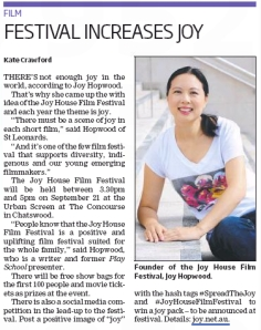 Joy House Film Festival press release